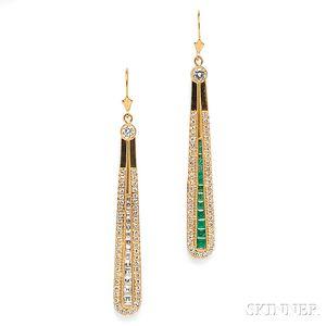 18kt Gold, Emerald, and Diamond Earpendants