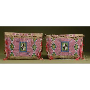 Pair of Plains Beaded Hide Possible Bags