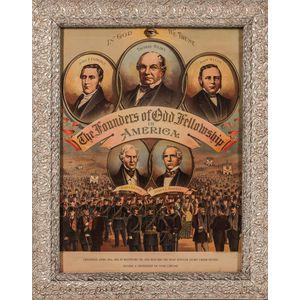Three Framed Odd Fellows Founders Lithographs