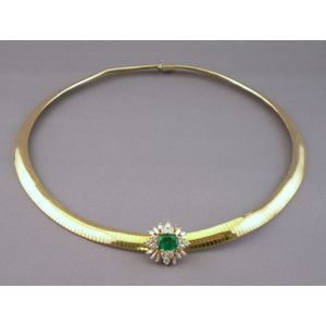 14kt Italian Gold, Emerald, and Diamond Necklace.