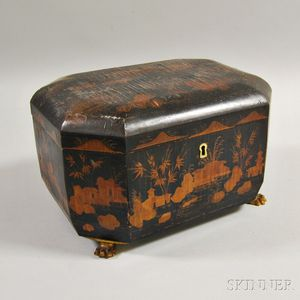 Chinese Export Lacquered Octagonal Tea Caddy
