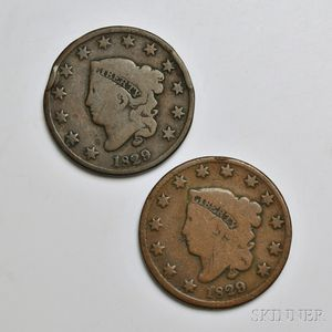 Two 1829 Coronet Head Large Cents