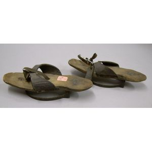 Pair of Eastern European/Asian Iron-mounted Wooden Open Shoes.