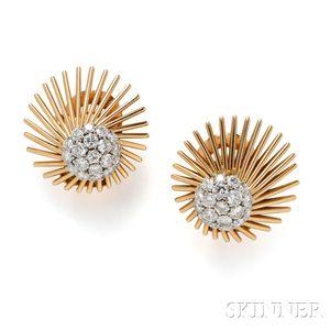 18kt Gold and Diamond Earclips, Van Cleef & Arpels