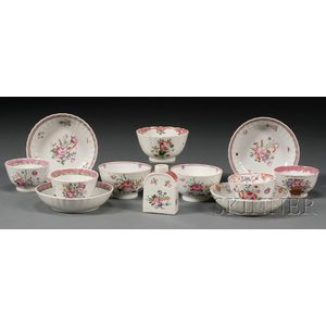 Twelve Assorted Chinese Export Famille Rose Decorated Teaware Items