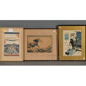 Three Japanese Woodblock Prints: