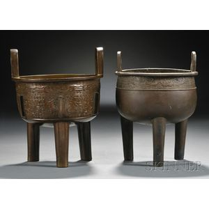 Two Bronze Ding