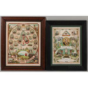 Two Framed Odd Fellows Lithographs
