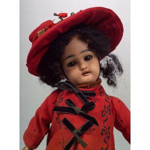 Small Simon Halbig 1079 Brown Bisque Head Girl Doll