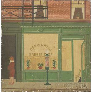 Professor Arthur Cucino (American, 20th Century)    Second Avenue Barbershop.