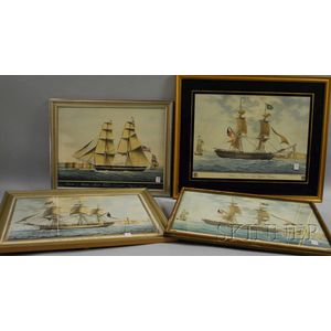 Four Framed Reproduction Marine Prints and a Contemporary Half-hull Model Plaque.