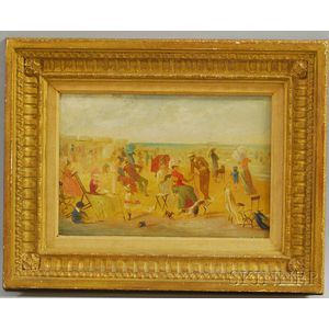 Framed Enhanced Print of a Late 19th Century Beach Promenade Scene
