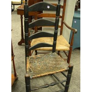 Black Painted Slat-back Side Chair and a Slat-back Armchair.