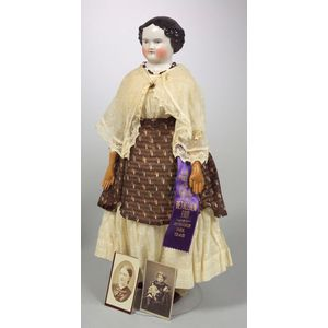 China Shoulder Head Doll and Photograph of Doll and Her Original Owner
