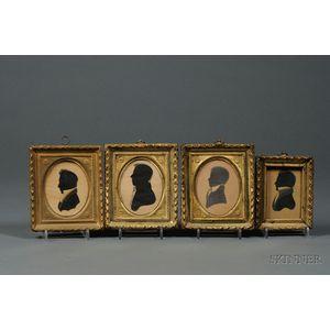 Four Framed Silhouette Portraits of Gentlemen