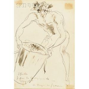 """Andre Dunoyer de Segonzac (French, 1884-1974)      Etude pour le Georgiques de """"Virgile"""""""