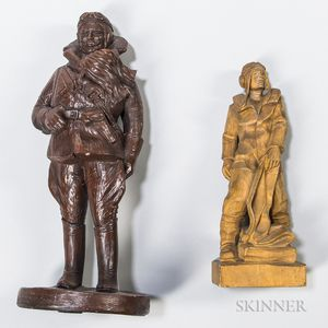 Two WWI Pilot Sculptures