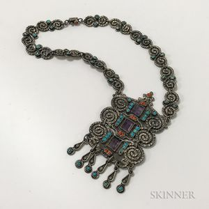 Mexican Sterling Silver, Amethyst, Turquoise, and Coral Necklace