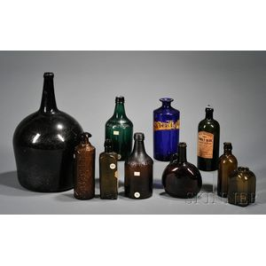 Ten Assorted Colored Blown and Blown-molded Glass Bottles