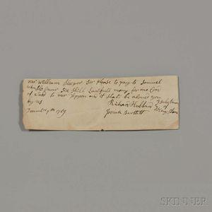 Bartlett, Josiah (1729-1795) Signed Receipt, 7 December 1769.