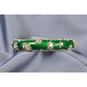 18kt Gold, Enamel and Diamond Bangle Bracelet, Cartier, France