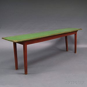 Country Red- and Green-painted Farm Table