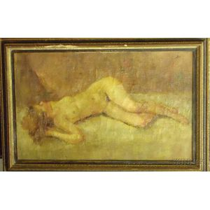 Framed 20th Century Continental School Portrait of Reclining Female Nude