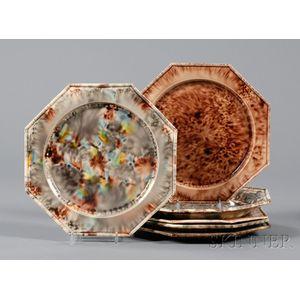 Six Assorted Octagonal Whieldon-type Creamware Plates