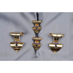 Retro 14kt Gold and Sapphire Suite, Tiffany & Co.