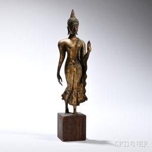 Gilt-bronze Statue of Walking Buddha