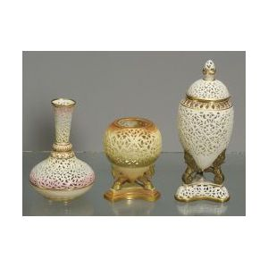 Three Reticulated Porcelain Vases