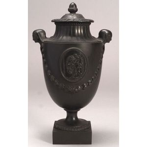 Wedgwood & Bentley Black Basalt Vase and Cover