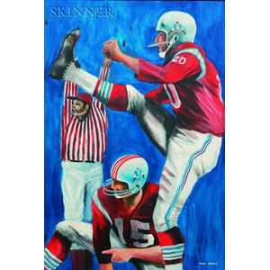"""Ernie Eugene Barnes, Jr. (American, b. 1938)      Gino """"No. 20"""" Cappelletti, Kicking Point After Babe Perelli #15 Holding"""