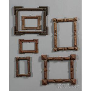 Six Chip-carved Wood Tramp Art Frames
