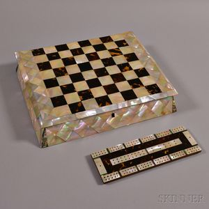 Mother-of-pearl and Shell Veneer Chess Board/Box