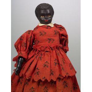 "Small Black Bisque Shoulder Head Doll ""Lubinda,"""