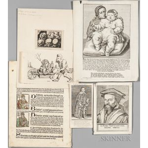 Woodcuts, Engravings, Illustrations Cut from Books, Approximately Forty Pieces, 15th-19th century.