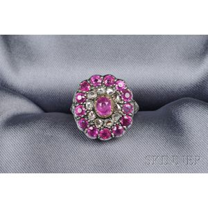 Renaissance Revival Ruby and Diamond Ring