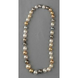 Multicolored Tahitian Pearl and Diamond Necklace