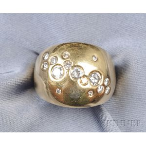 """18kt Gold and Diamond """"Celestial"""" Dome Ring, Thomas Michaels"""
