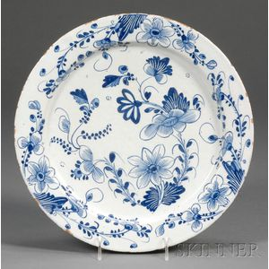 Blue and White Floral-decorated Delft Charger