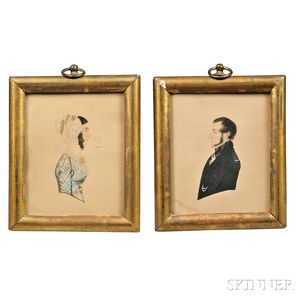 American School, Early 19th Century, Pair of Miniature Profile Portraits, Judge James Curtis (1781-1847) and Prudence (Bird) Curtis (17