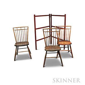 Three Bamboo-turned Windsor Chairs and a Red-painted Drying Rack.     Estimate $200-300