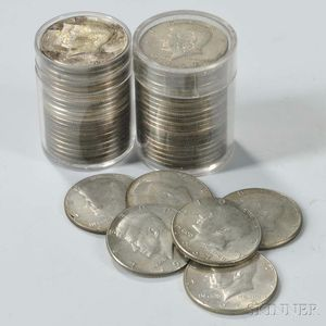 Forty-six Kennedy Silver-clad Half Dollars.     Estimate $50-100