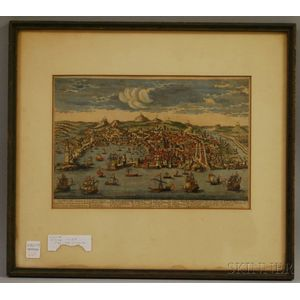 Framed 19th Century French Hand-colored View of Genoa