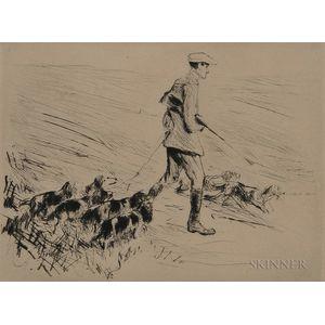 Max Liebermann (German, 1847-1935)      Jäger mit Hunden