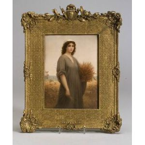 Berlin Painted Porcelain Plaque of Ruth