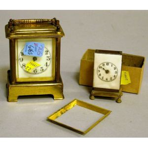 Small Waterbury Clock Co. Brass and Glass Carriage Clock with Porcelain Dial