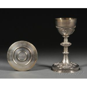 French Goldwashed .950 Silver Chalice and Paten