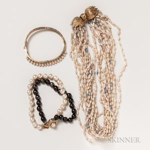 Multi-strand Freshwater Pearl Necklace and Two Pearl Bracelets